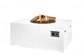 Gas Fire Pit - Rectangle - White