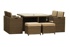 Roma Cube Set - 8 Seater - Brown