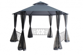 Madrid Hexagonal Gazebo with Sides - Mercury