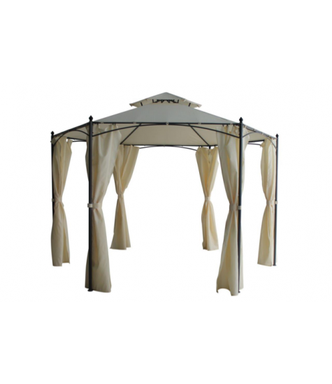 Barcelona Hexagonal Gazebo with Sides - Cream