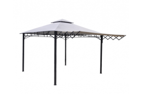Santiago Heavy Duty Steel Gazebo with Extending Awning