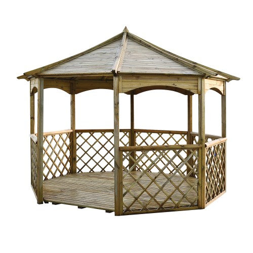 Wooden garden gazebo pergola large arbor outdoor floor for Large wooden gazebos