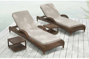 San Marino Sun Bed with Cushion and Side Table