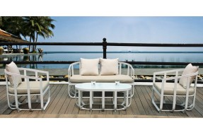 Ocean White Aluminium 4 Seater Coffee Set