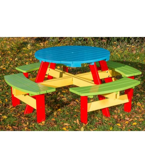 Children's Painted Round Picnic Table -  Seats 8